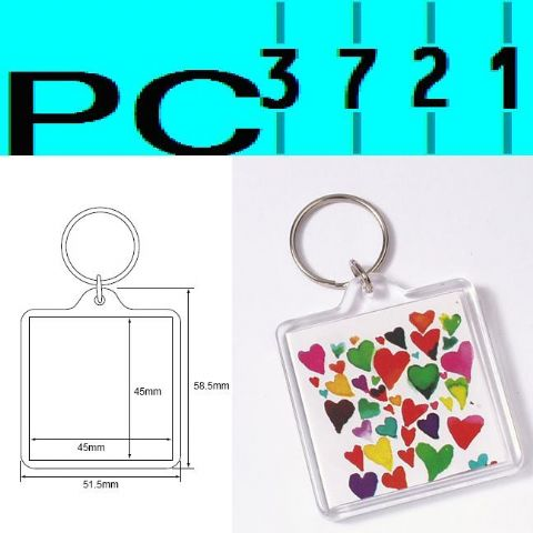 Pack of 10 Blank Square Clear Plastic Keyrings 45 x 45 mm Insert 94312